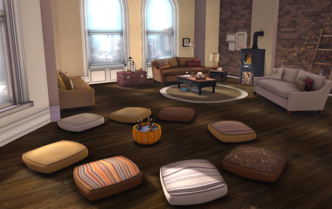 Add comfort to your living room with big floor pillows for Living room floor decor