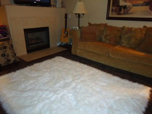 Big White Furry Rug