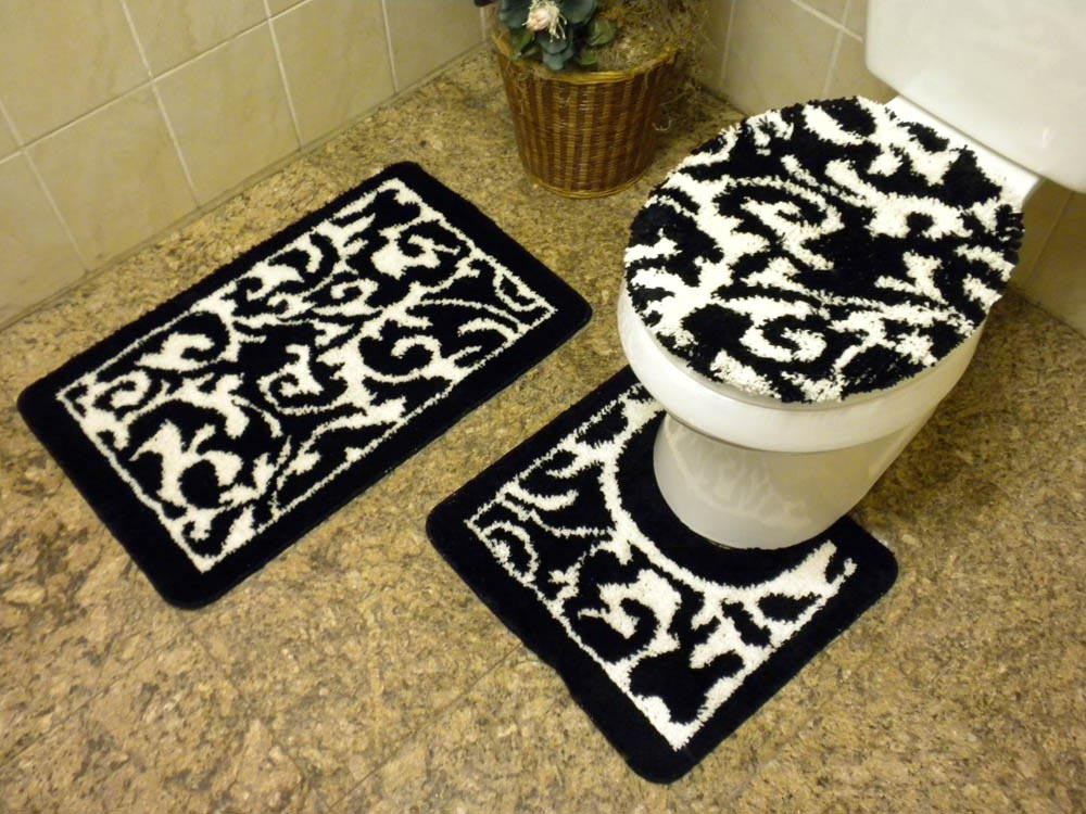 White bathroom mat set for Black and white bathroom sets