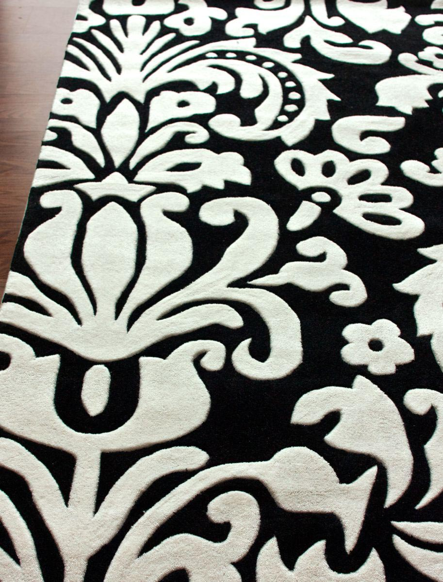 Black and White Damask Rug