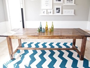 Blue and White Striped Area Rug