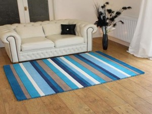Blue and White Striped Cotton Rug