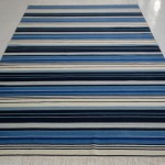 Blue and White Striped Rug 5x8