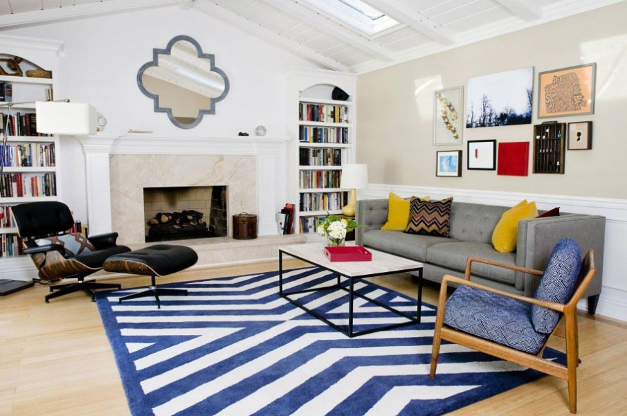Blue and White Striped Rug