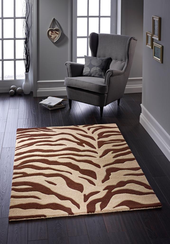 Brown Zebra Print Rug