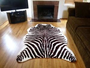 Faux Zebra Cowhide Rug