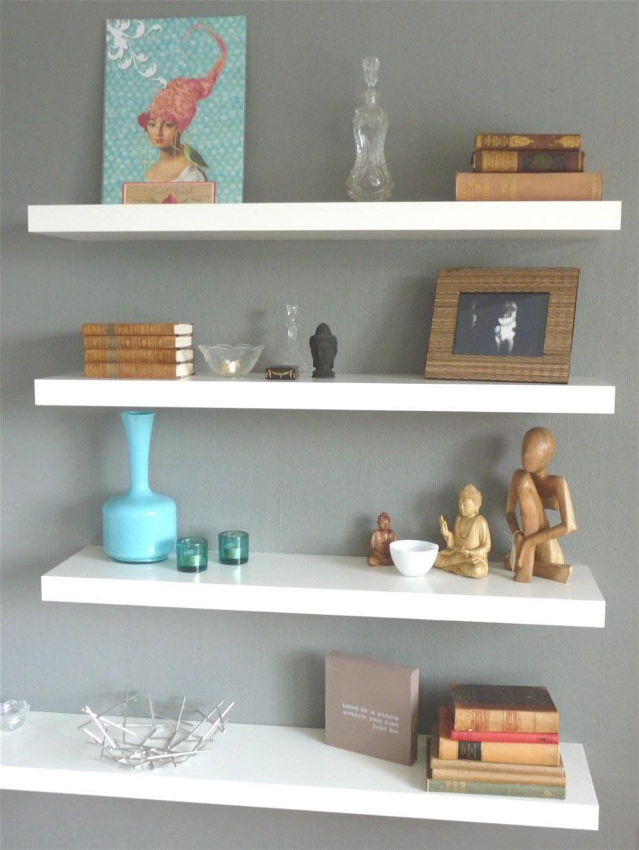 Floating White Wall Shelves