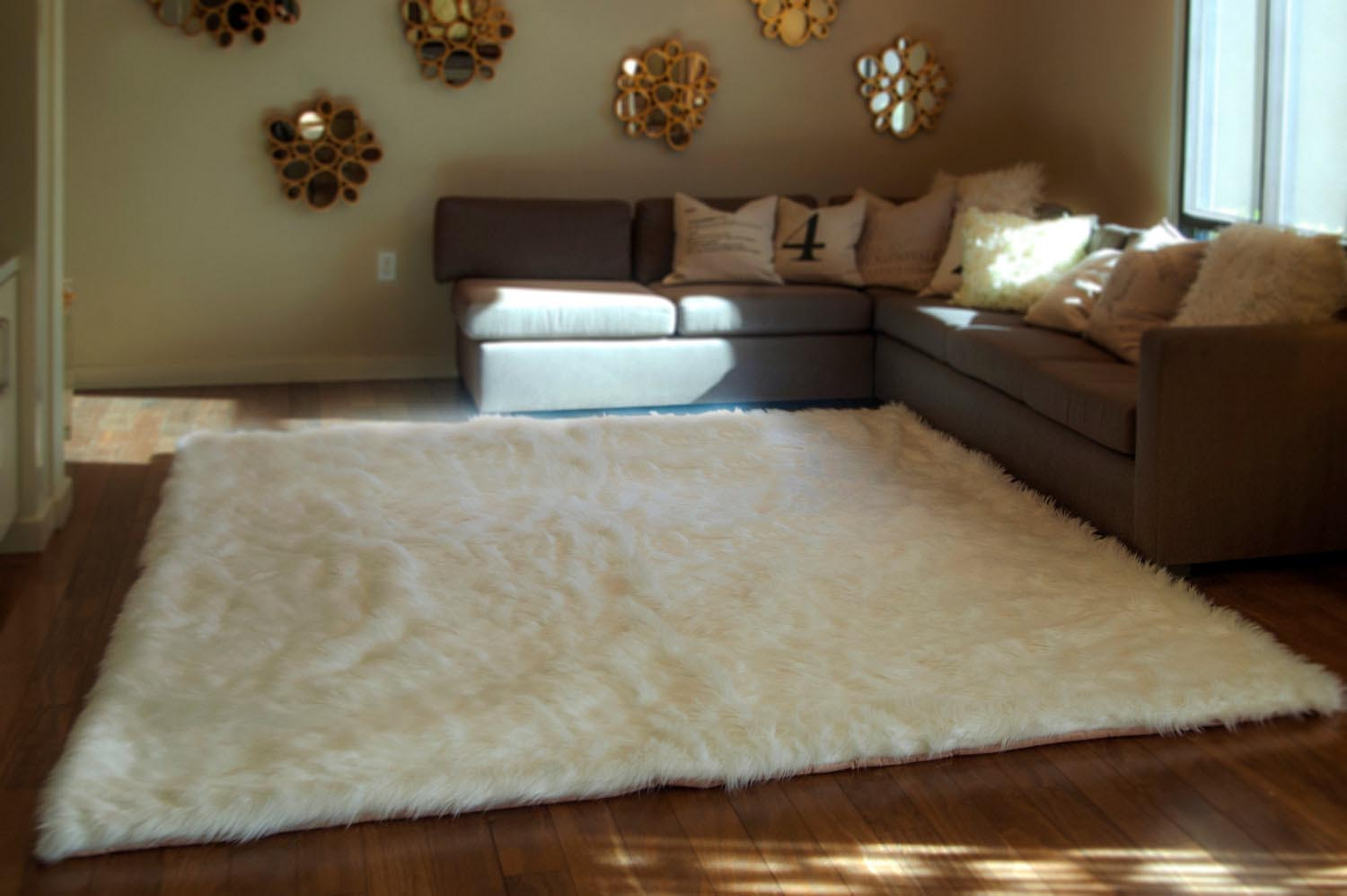 Fuzzy White Area Rug