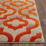 Grey and Orange Area Rug