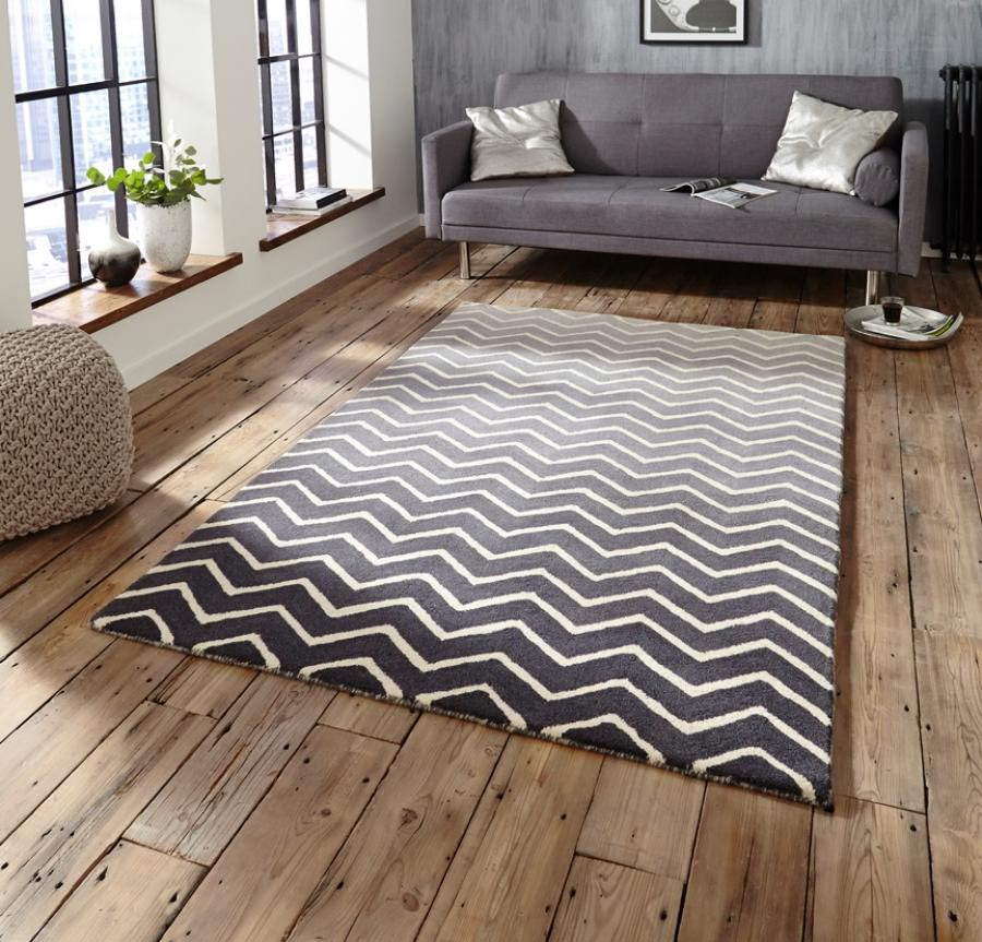 Grey and White Geometric Rug