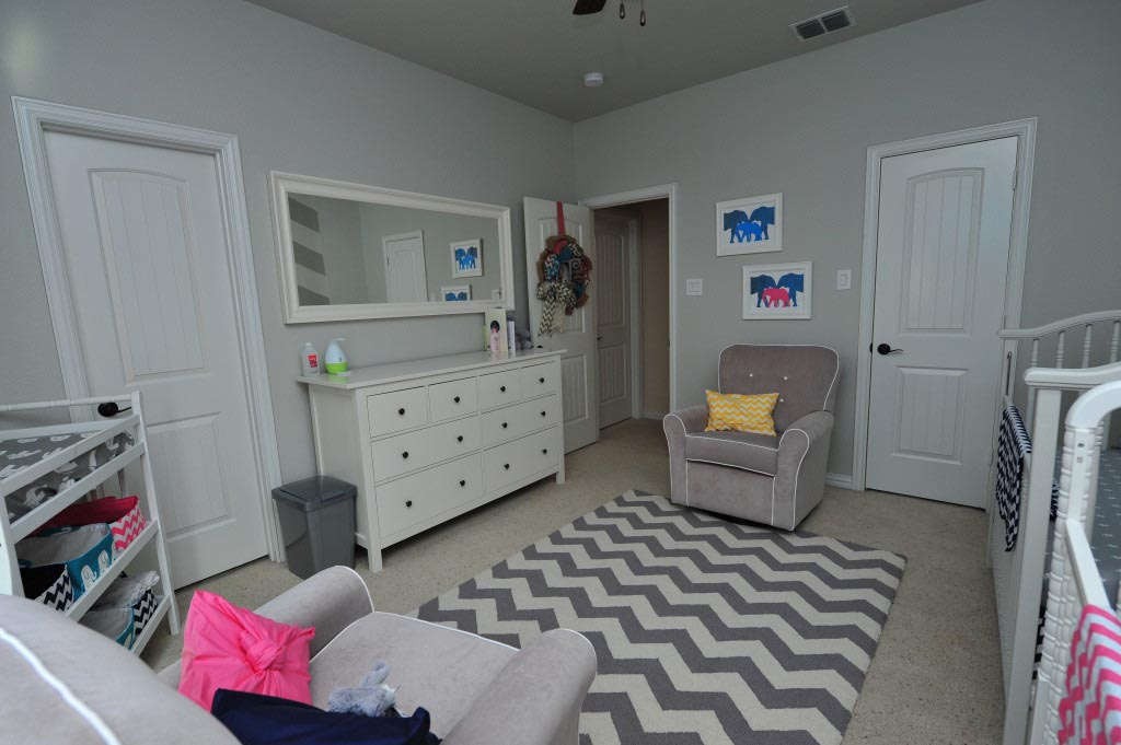Grey and White Nursery Rug