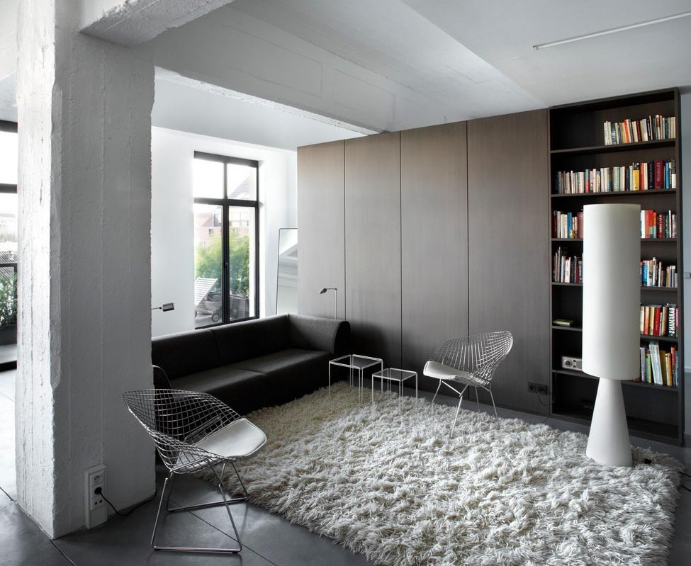 Grey and White Shag Rug