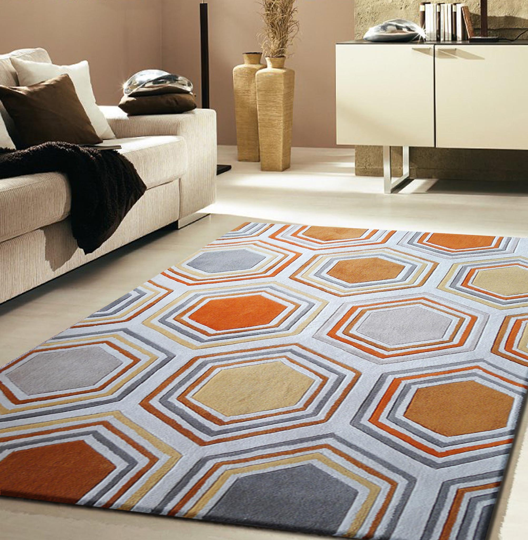 Grey and Yellow Area Rug