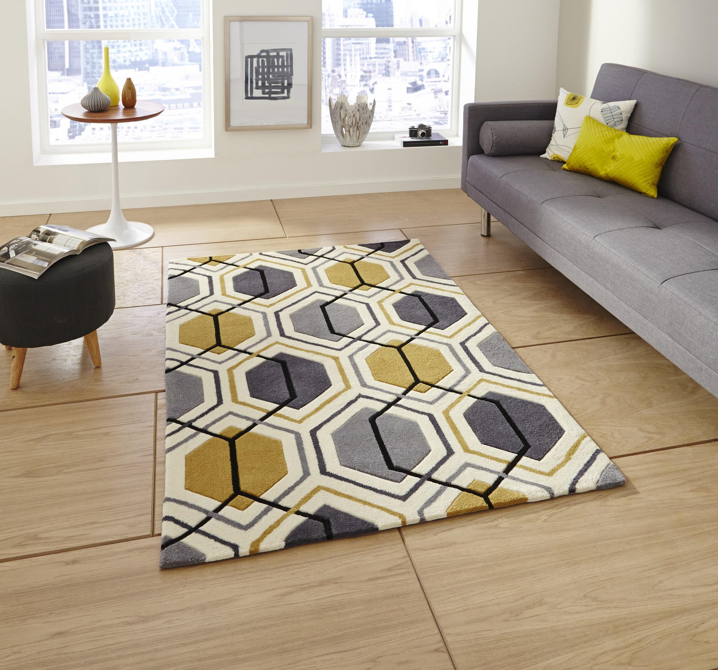 Grey and Yellow Rug