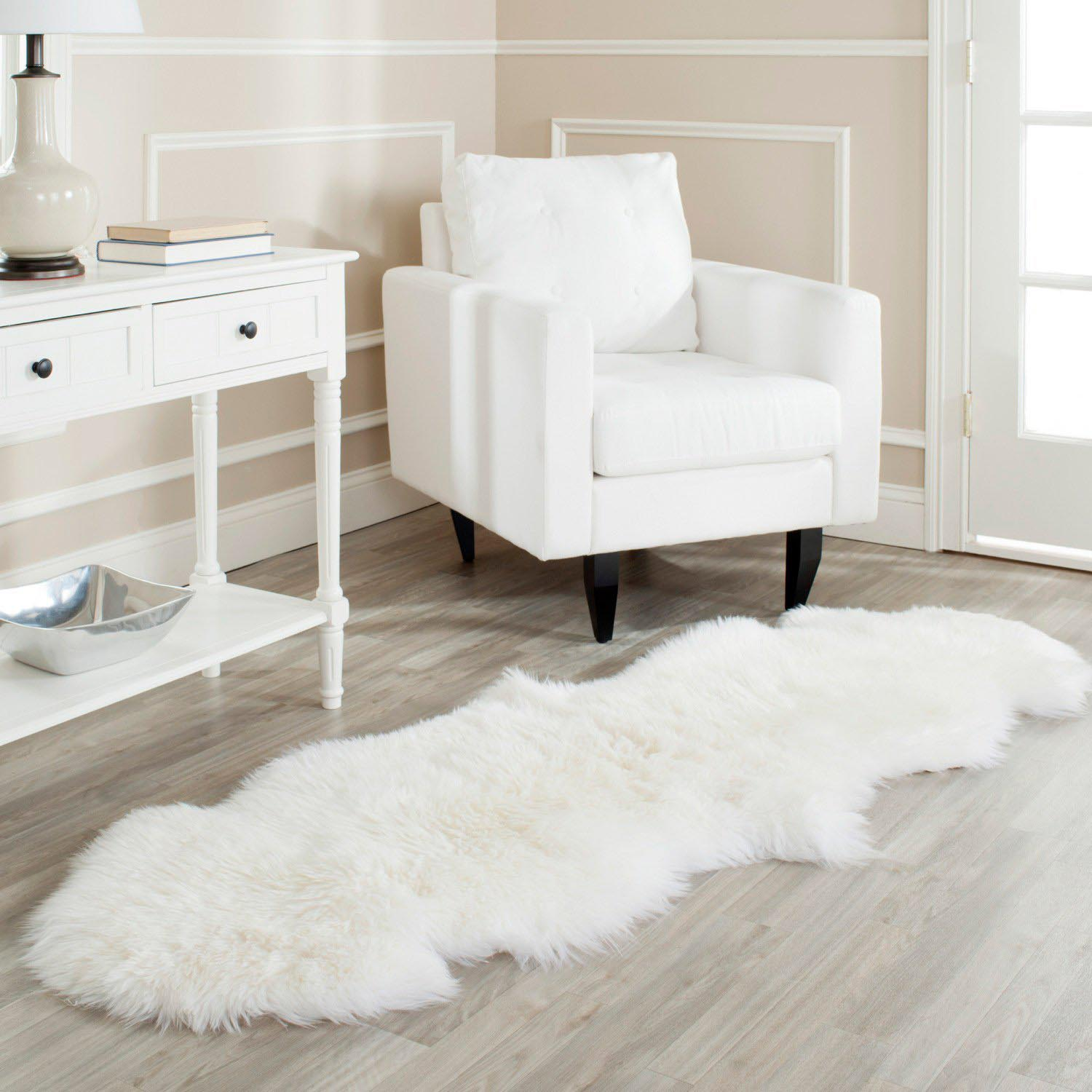 White Fluffy Living Room Rug
