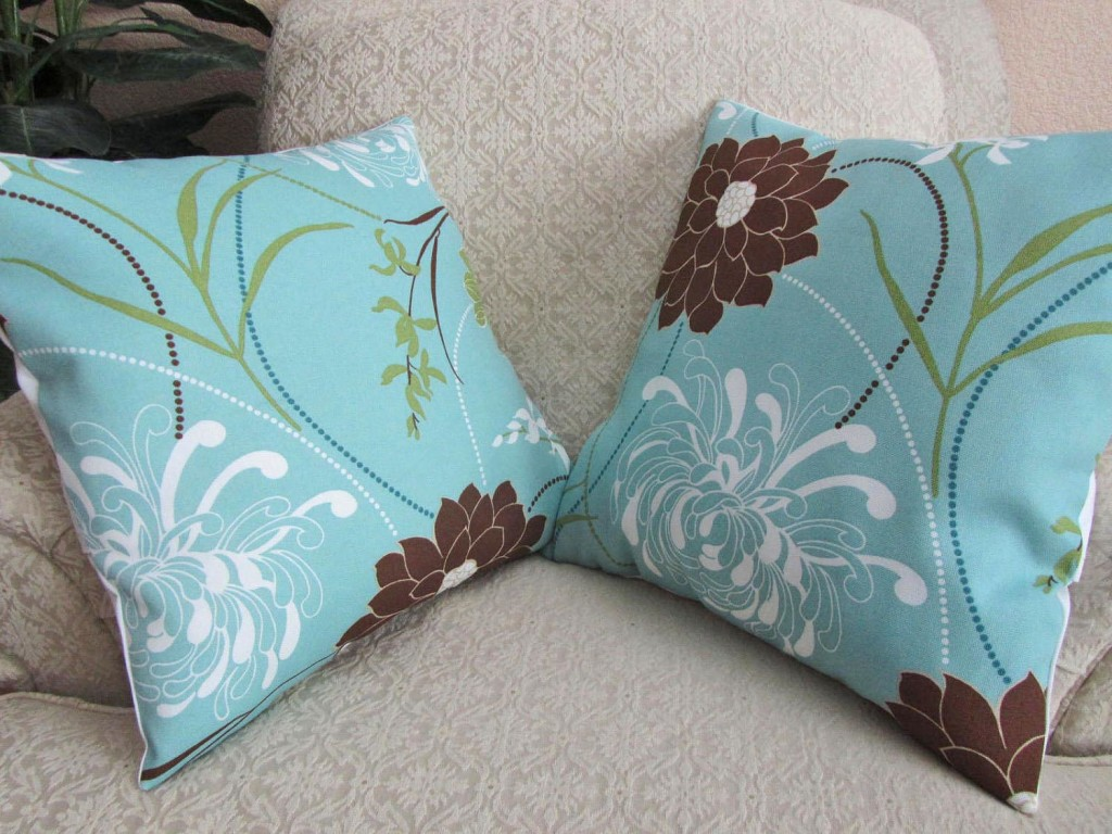 Light Blue and Brown Throw Pillows