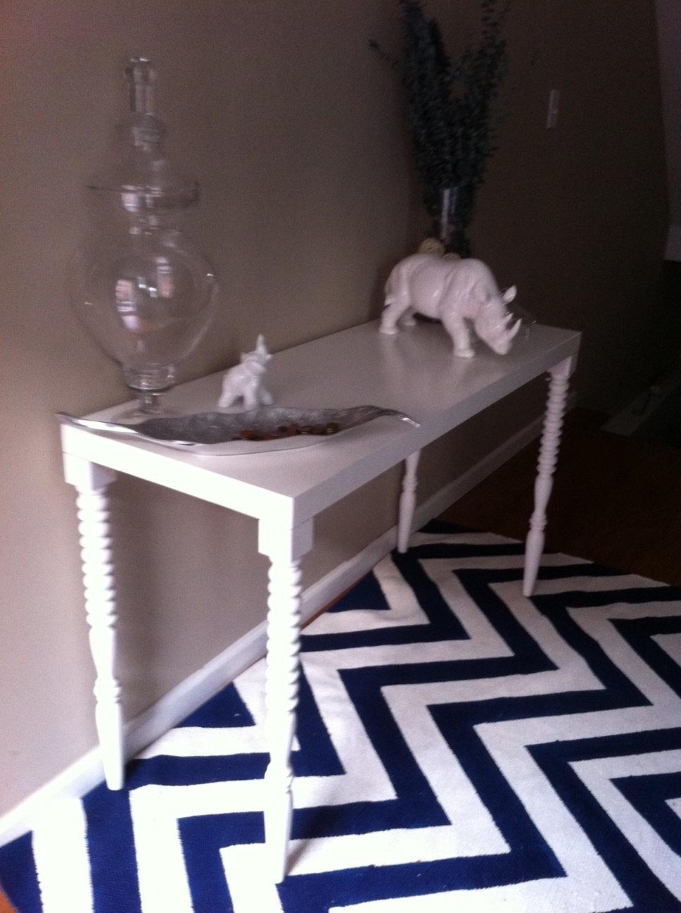 Navy and White Striped Area Rug