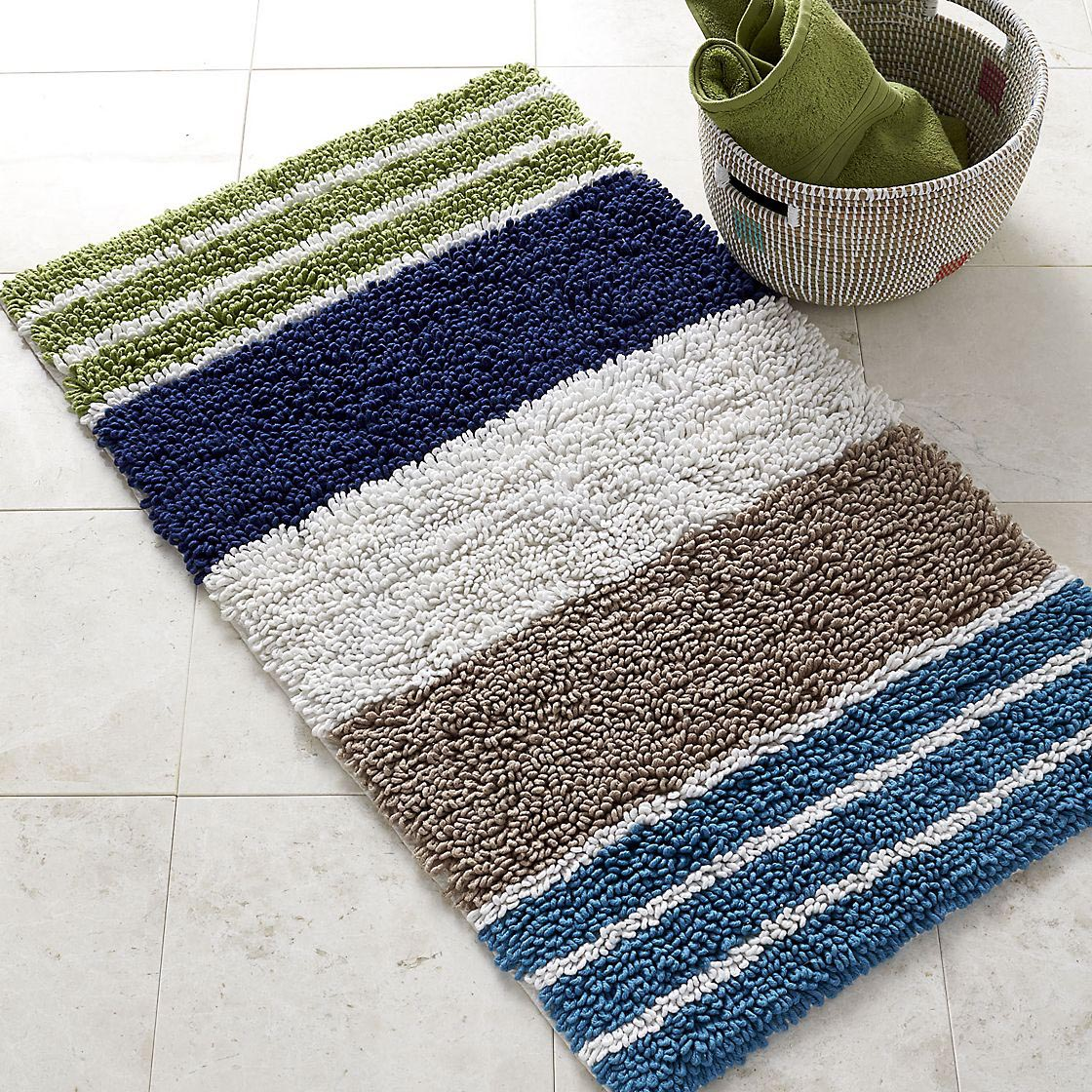 Navy And White Striped Bathroom Rug Best Decor Things