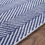 Navy and White Striped Rug 5x8