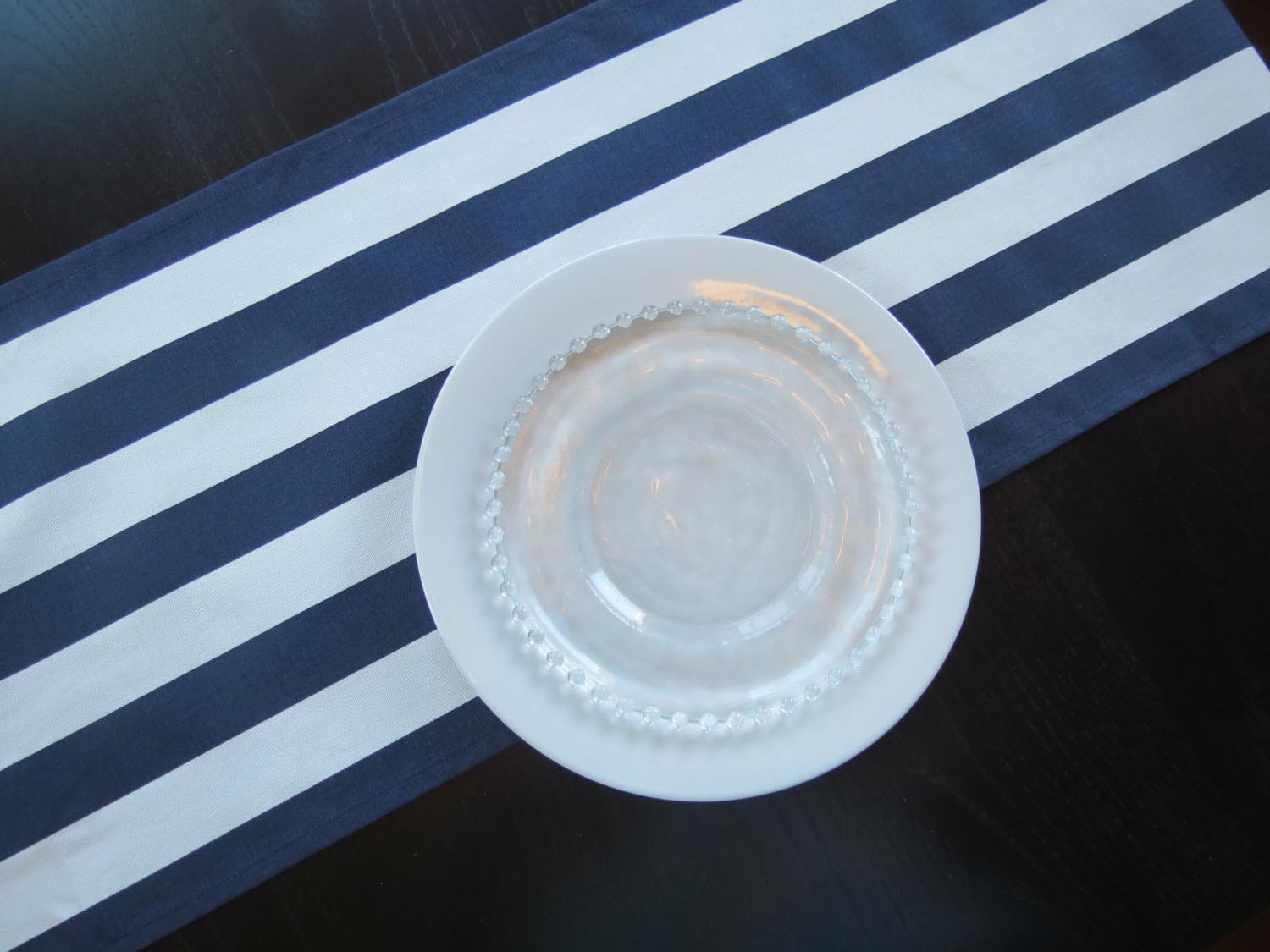 Navy and White Striped Rug Runner
