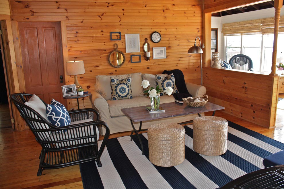 Navy and White Striped Rug