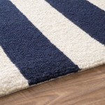 Navy Blue and White Striped Area Rug