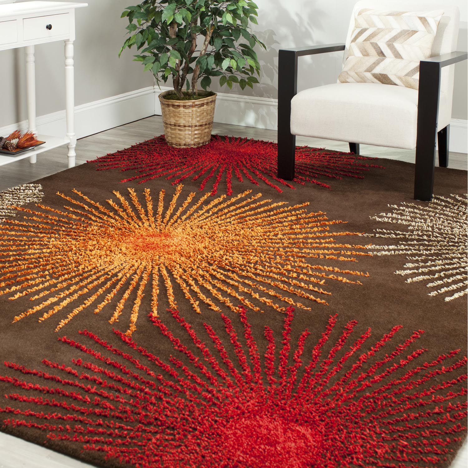 Orange and Brown Area Rug