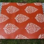 Orange and White Area Rug