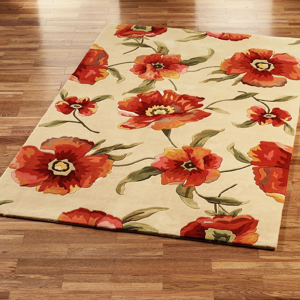 Orange Floral Area Rug | Best Decor Things