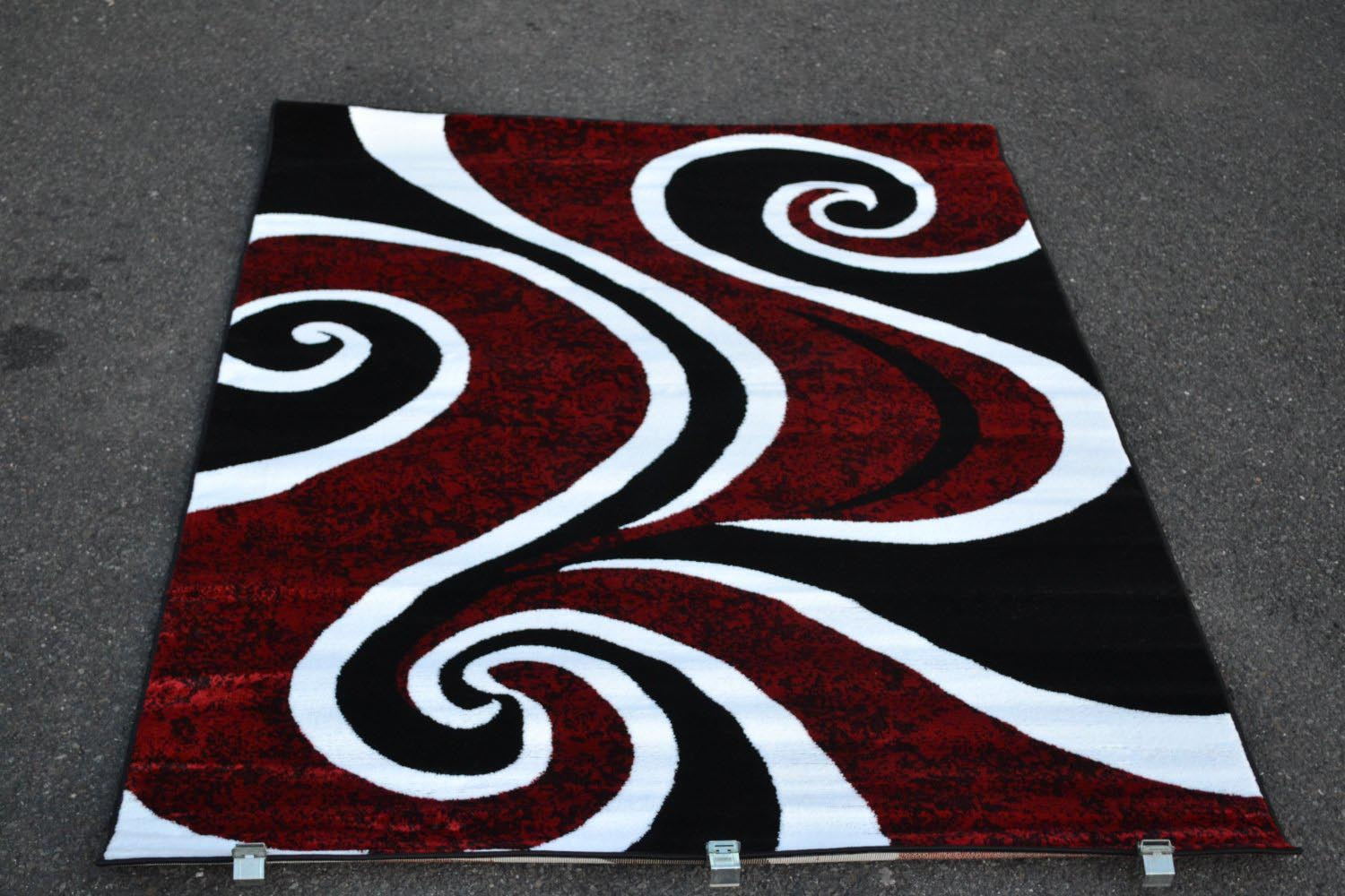 Red Black and White Rug
