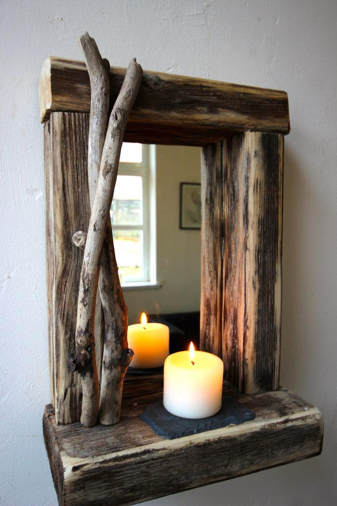 Rustic rectangular wall mirrors best decor things for How to make mirror wall decor