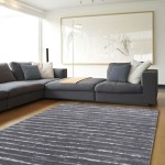 White and Grey Striped Rug