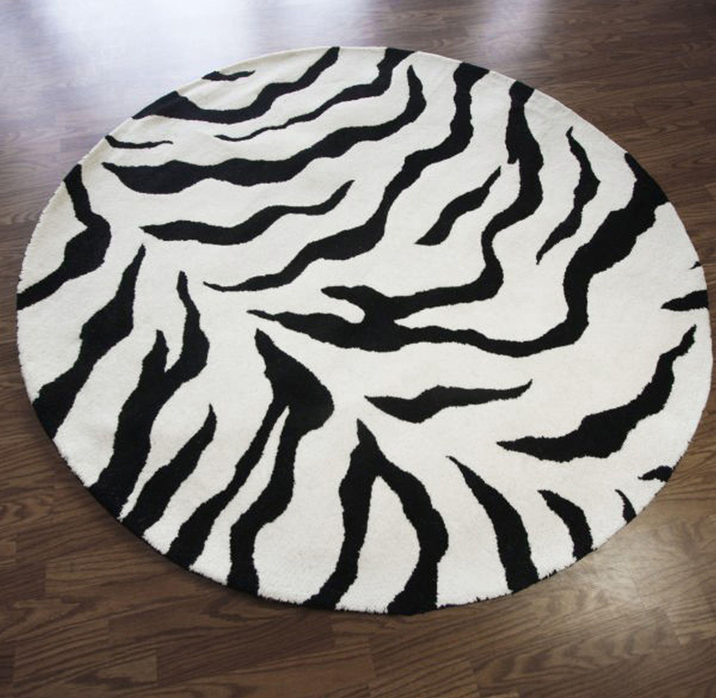 Zebra Print Area Rug 5×8