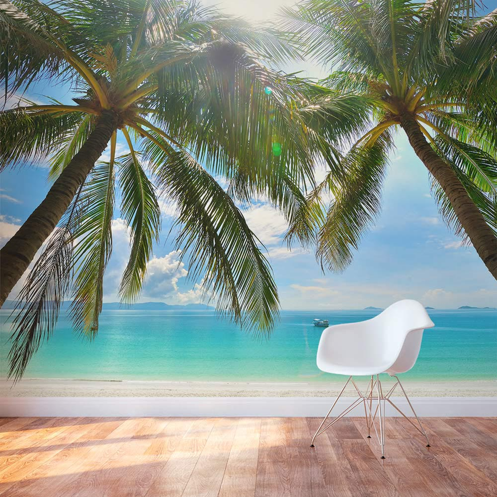 Beach wall murals cheap for Cheap wallpaper mural