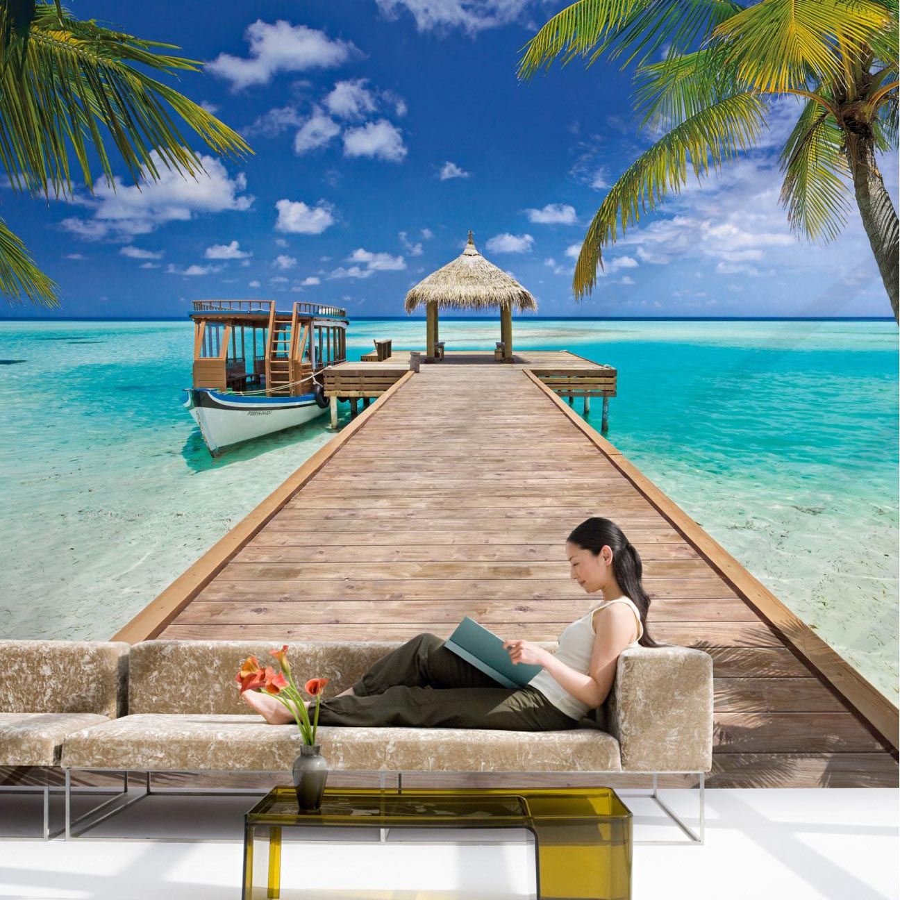 Beach wall murals removable best decor things for Beach mural wallpaper