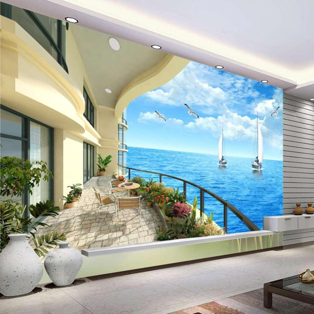 Where do beach wall murals suit best decor things for Cheap wallpaper mural