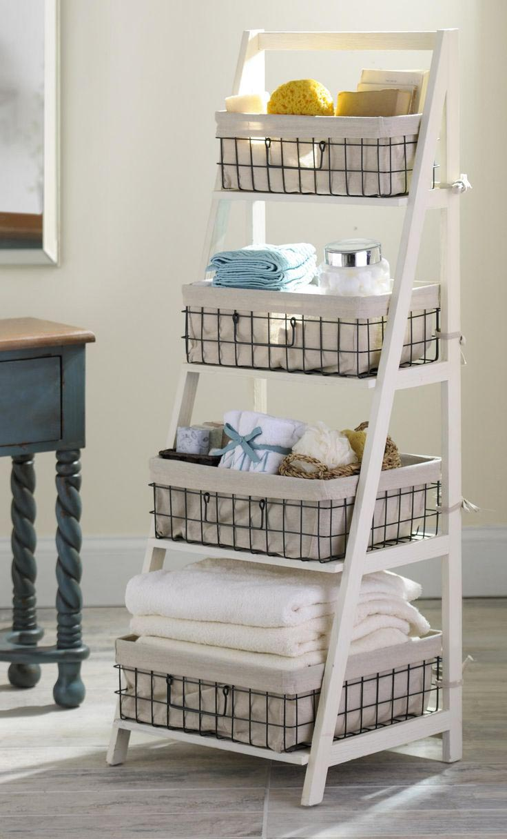 Ladder shelf with baskets best decor things - Bathroom storage baskets shelves ...