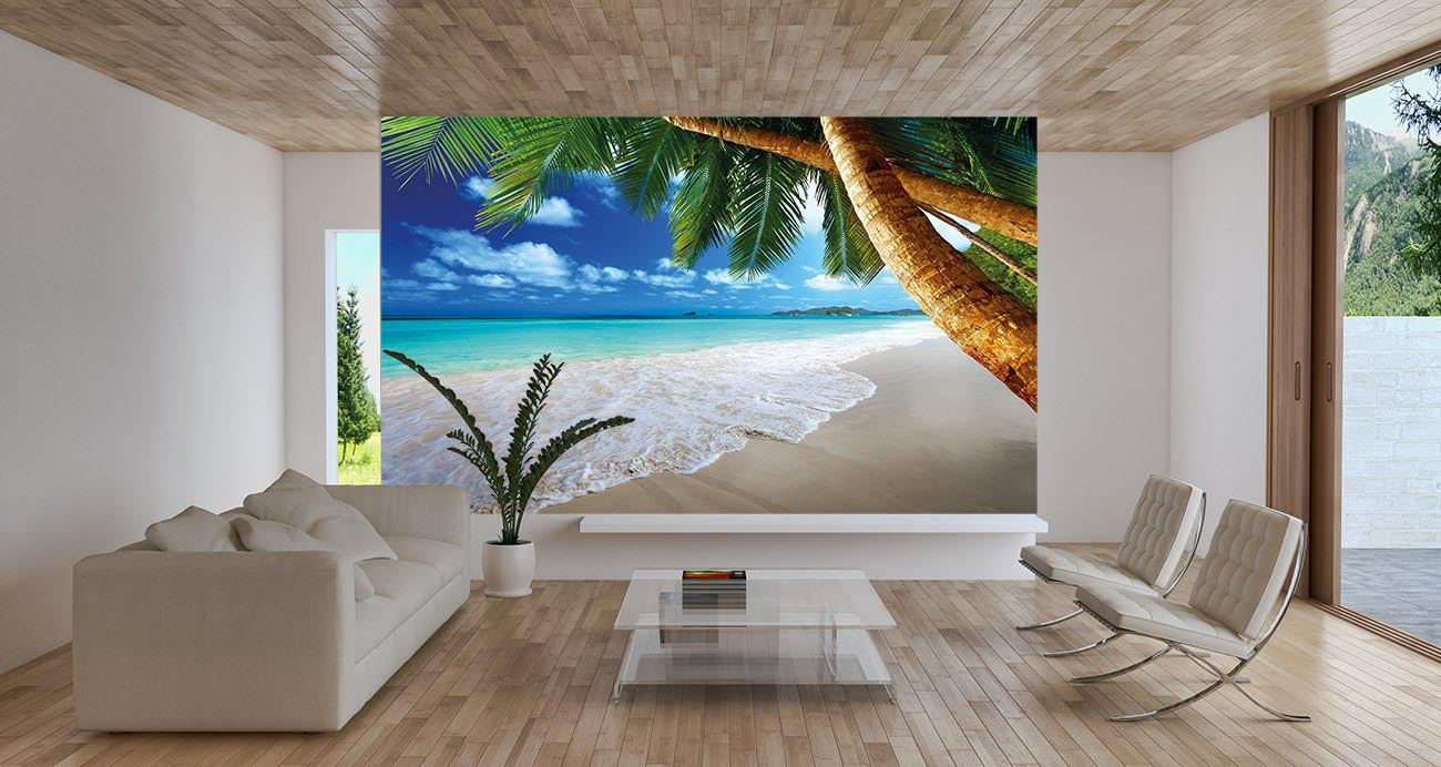 Beach wall murals cheap for Cheap beach decorations for the home