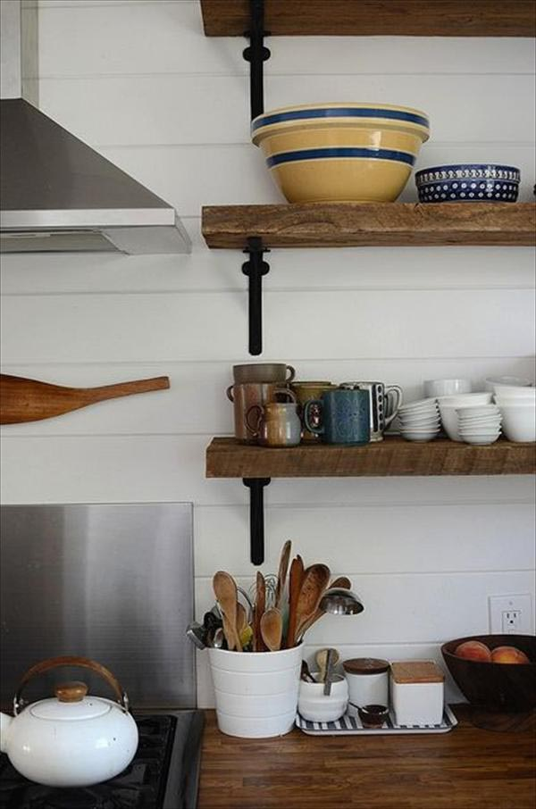 Wooden kitchen wall shelves best decor things - Things to put on a wall ...