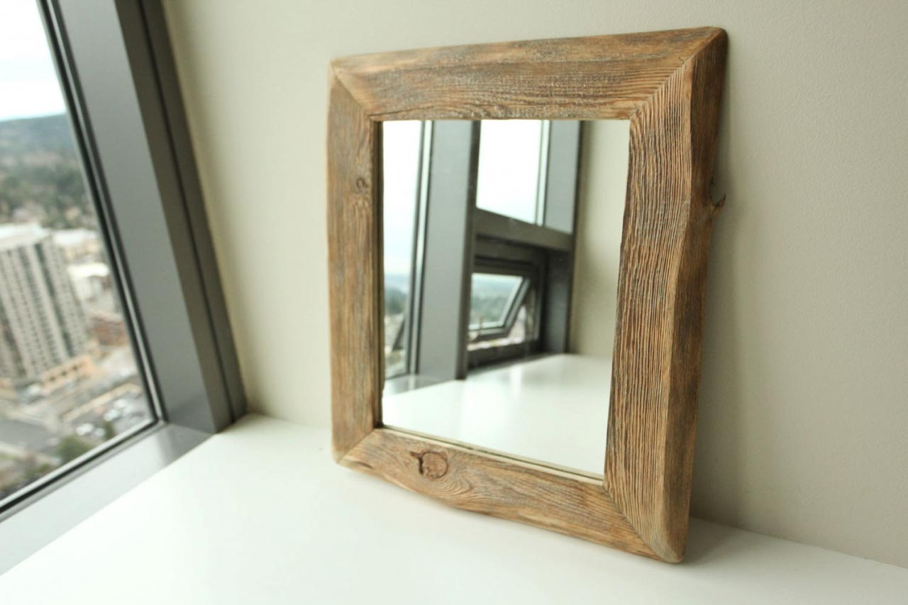 Amanti Art Wall Mirror Country Barnwood Outer Size XLrg