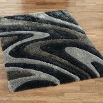 Black and White Area Rug 8x10