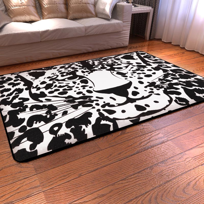 Black and White Leopard Print Rug