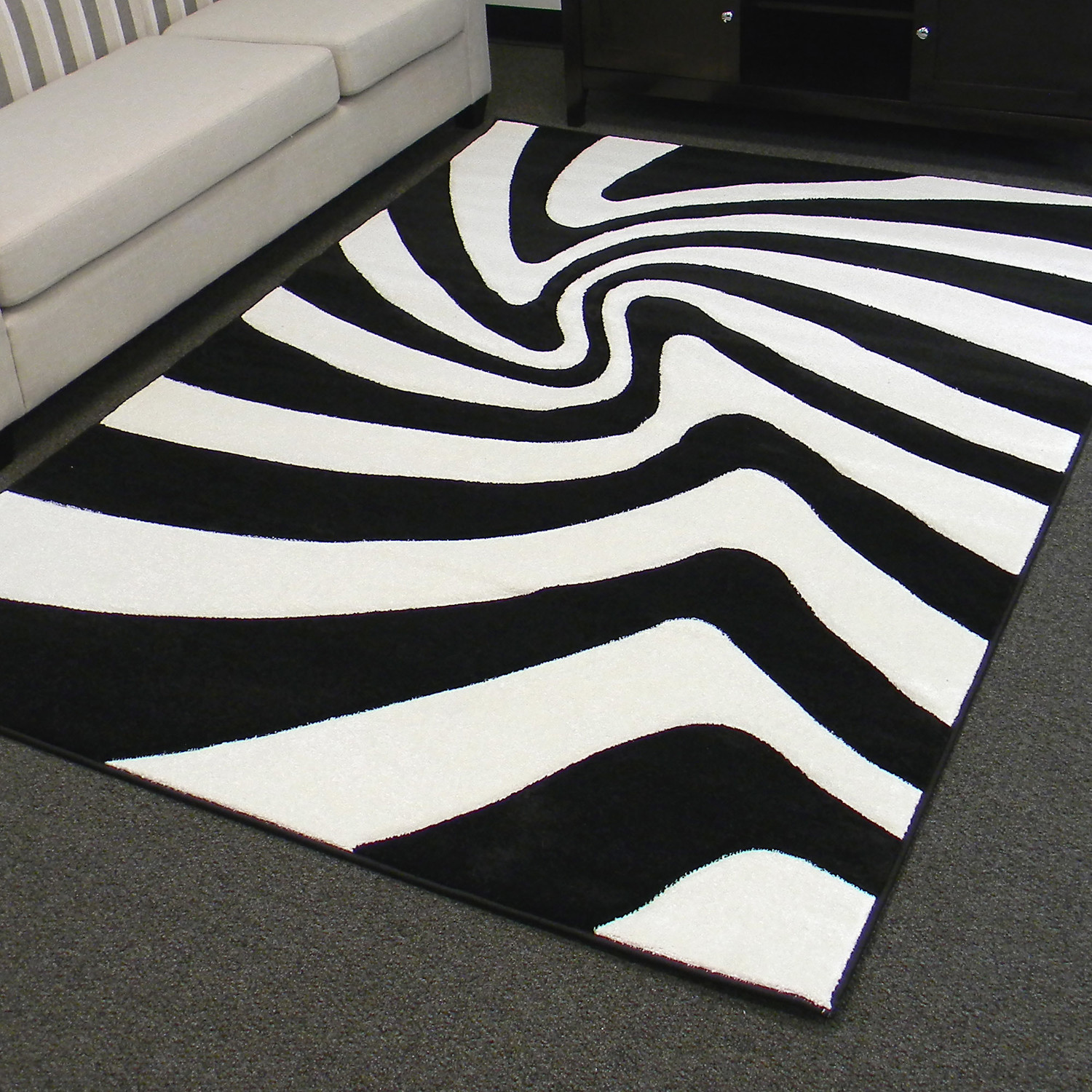 Black and White Zebra Area Rug