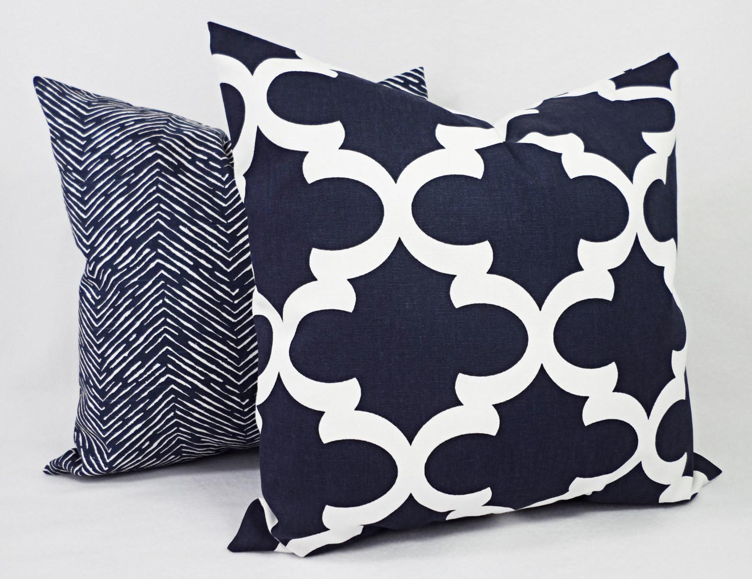 Navy Blue And White Decorative Pillows Best Decor Things