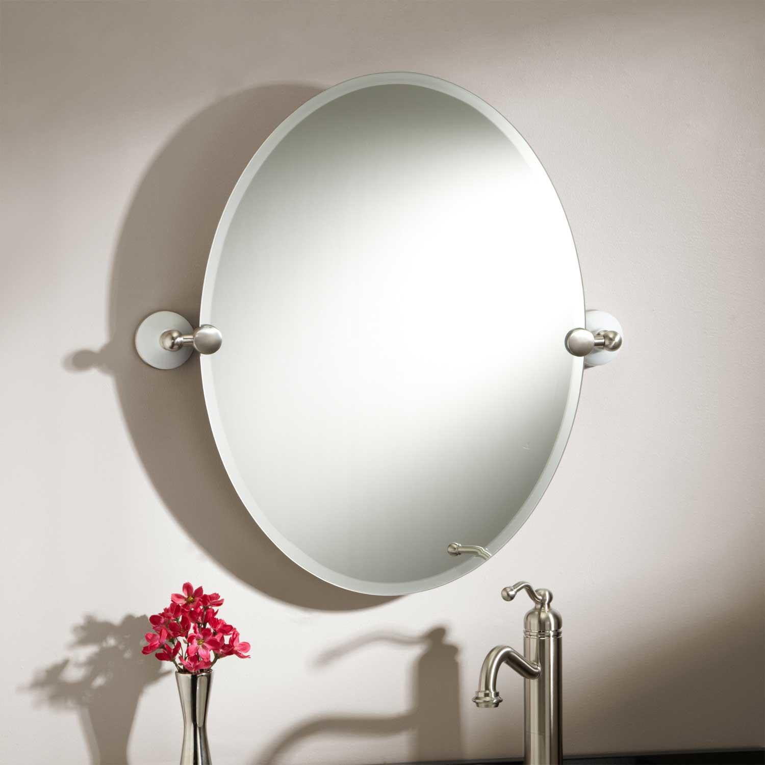 Oval bathroom mirrors brushed nickel best decor things Bathroom wall mirrors brushed nickel