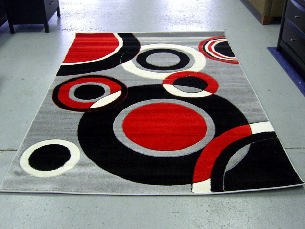 Red Black and White Area Rug