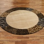 Round Leopard Print Rug