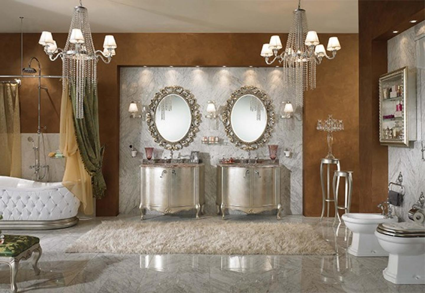 Silver Oval Mirrors Bathroom