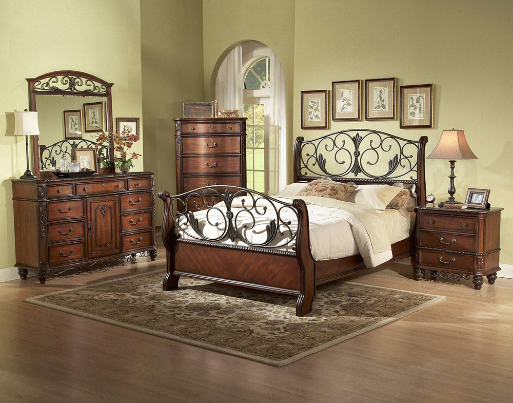 Wood and Metal Bedroom Furniture